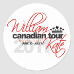 2011 Canadian Tour - William & Kate Wedding Classic Round Sticker