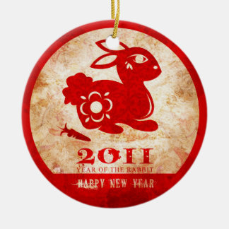 2011 Chinese New Year of the Rabbit Double-Sided Ceramic Round Christmas Ornament