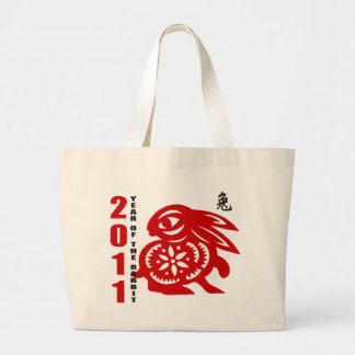 2011 Chinese Paper Cut Year of The Rabbit Large Tote Bag