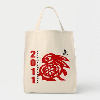 2011 Chinese Paper Cut Year of The Rabbit Tote Bag