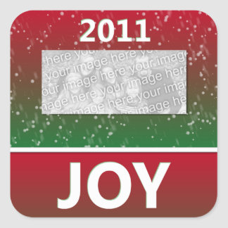 2011 Christmas Joy Snow Personalized Photo Square Sticker