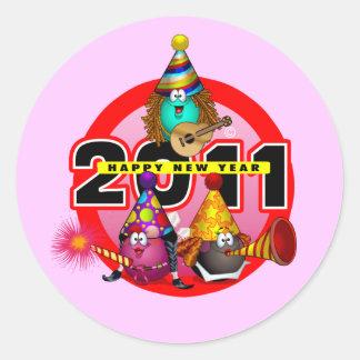 2011 - Diseño del Año Nuevo Pegatina Redonda