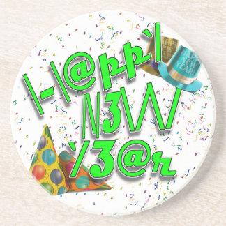 ¡2011 FELICES AÑO NUEVO! LEET con confeti Posavasos Personalizados