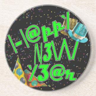 ¡2011 FELICES AÑO NUEVO! LEET con confeti Posavaso Para Bebida