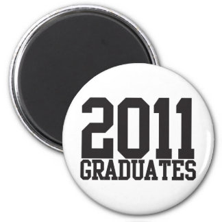 2011 graduates in funky block font! 2 inch round magnet