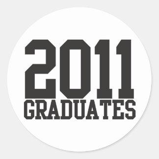 2011 graduates in funky block font! classic round sticker