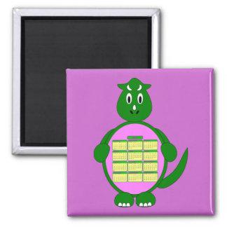 2011 Green Dinosaur Calendar Magnet