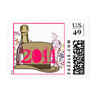 2011 Happy New Year Champagne Postage Stamps