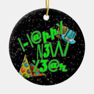2011 HAPPY NEW YEAR! LEET with Confetti Ceramic Ornament