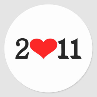 2011 heart classic round sticker