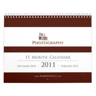 2011 lejos y calendario ancho de la fotografía
