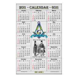 2011 Masonic Calendar Poster