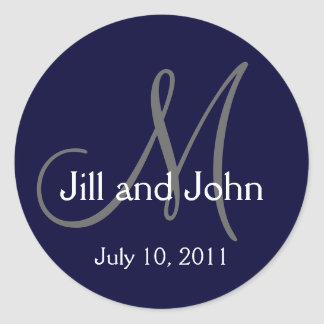 2011 Monogram Wedding Names Save Date Navy Sticker