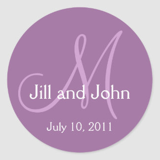 2011 Monogram Wedding Save the Date Purple Sticker