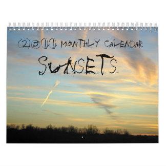 2011 Monthly Calendar, Sunsets Calendar