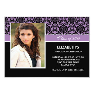 2011 Purple Damask Photo Graduation Invitation