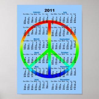 2011 Rainbow Peace Sign Wall Calendar Poster