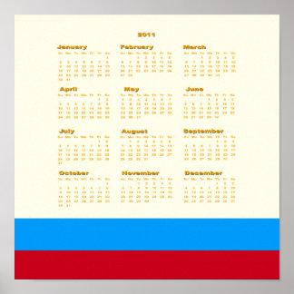 2011 recuerde el calendario de la fecha posters