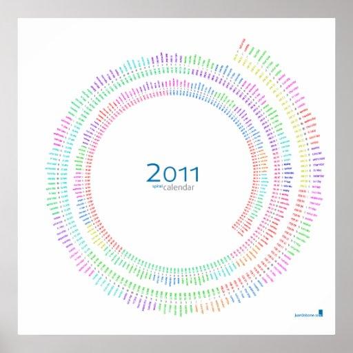 2011 Spiral Calendar (white /english) Poster