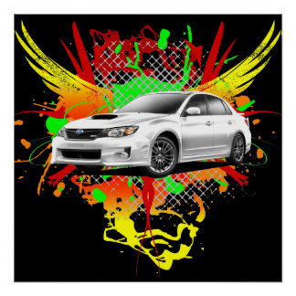 2011 WRX Impreza White Graphic Poster
