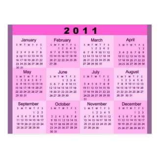 2011 Year at a Glance Calendar Postcard