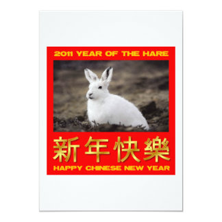 2011 Year Of The Hare Happy Chinese New Year 5x7 Paper Invitation Card