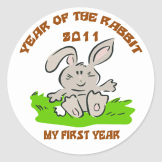 2011 Year of The Rabbit Baby Classic Round Sticker
