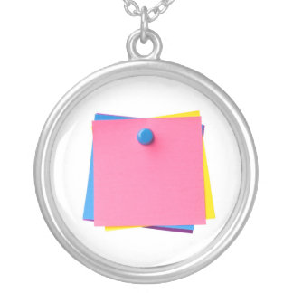 20120219_IMG_0140-sticky notes isolated copy Silver Plated Necklace