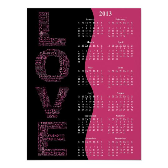 2012: A Year of Love Yearly Wall Calendar Poster