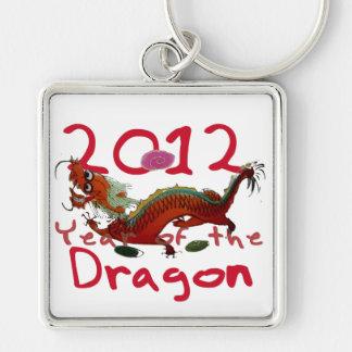2012 - Año de dragón del th Llavero Cuadrado Plateado