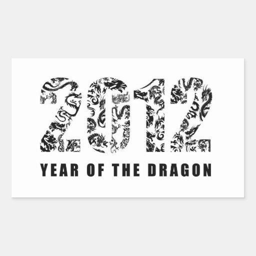 2012 años del dragón pegatina rectangular