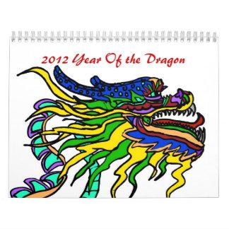 2012 años del dragón calendario de pared