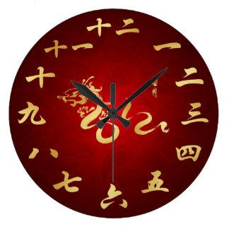 2012 años del reloj chino de la caligrafía del dra