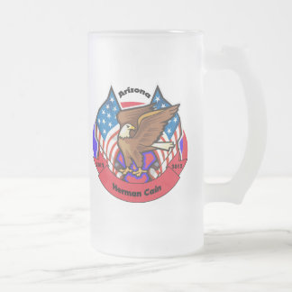 2012 Arizona for Herman Cain Frosted Glass Beer Mug
