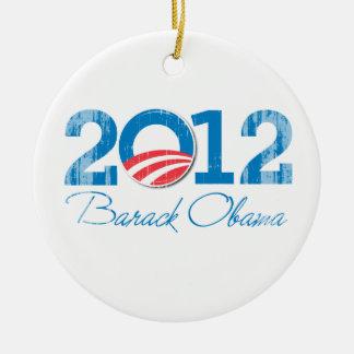 2012---BARACK-OBAMA-- Vintage.png Double-Sided Ceramic Round Christmas Ornament