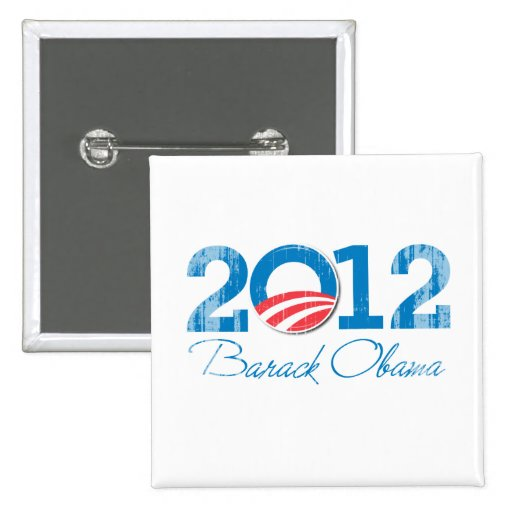2012 - Barack Obama - Vintage.png Pin Cuadrada 5 Cm