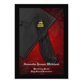 2012 Black and Red Tassel Charm 5x7 Graduation 5x7 Paper Invitation Card