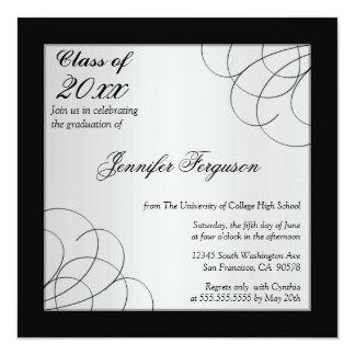 2012 Black elegant swirls graduation party invite