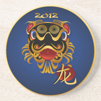 2012 Black 'n Gold Chinese Dragon Face Coasters