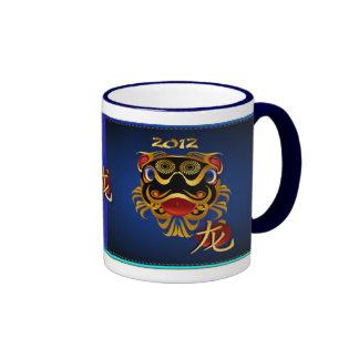 2012 Black 'n Gold Chinese Dragon Face HatsMugs Ringer Mug