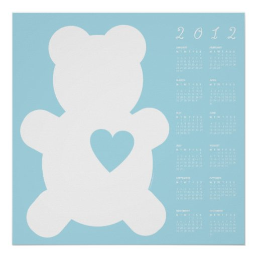 2012 Blue Love Teddy Sweet + Cuddly Calendar Poster
