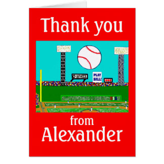 2012 Boys Baseball Personalized Thank You Notes Cards