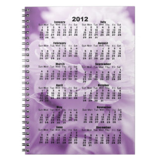 2012 Calendar Fluffy Purple Peony Notebook