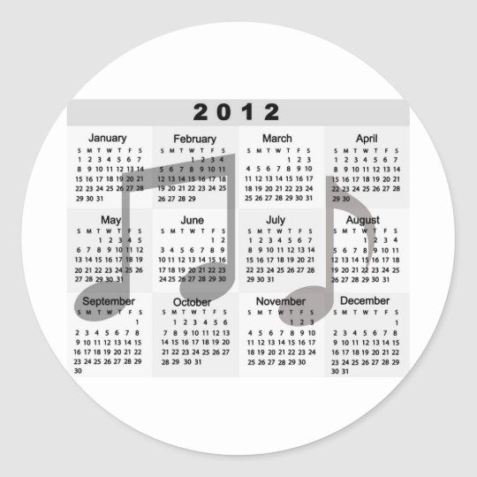 2012 Calendar with Musical Notes print Classic Round Sticker