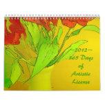 2012 calendario - 365 días de licencia artística