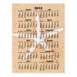 2012 calendario - postal de las estrellas de mar