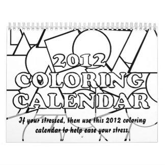 2012 calendarios que colorean a ayudar a facilitar