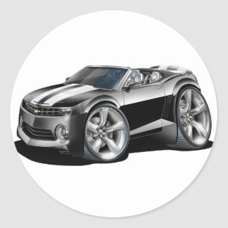 2012 Camaro Black-White Convertible Classic Round Sticker