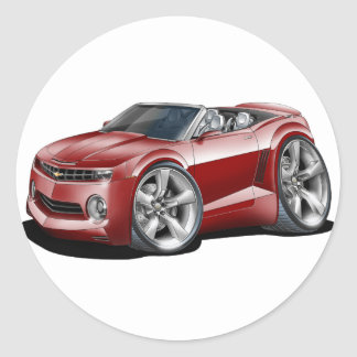 2012 Camaro Maroon Convertible Classic Round Sticker