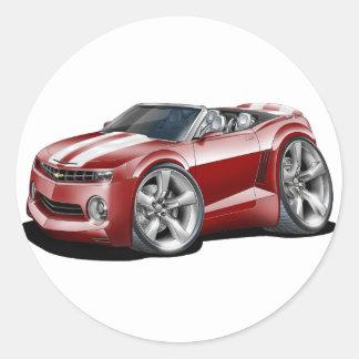 2012 Camaro Maroon-White Convertible Classic Round Sticker